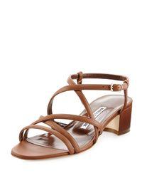 Manolo Blahnik - Brown Atrita Leather Block-heel Sandal - Lyst