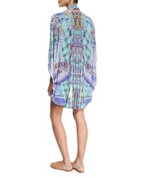 Camilla Blue Open-front Embellished Silk Cardigan/cape Coverup