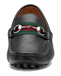 Gucci - Black Damo Leather Horsebit Driver for Men - Lyst