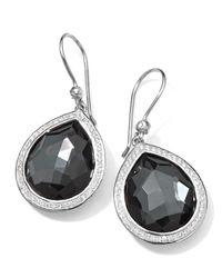 Ippolita | Black Stella Teardrop Earrings In Hematite & Diamonds | Lyst