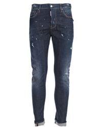 DSquared² - Blue Jeans Biker Pattella Militare for Men - Lyst