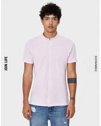 Camisa de manga corta Bershka de hombre de color Pink