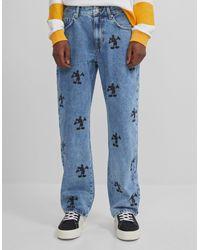 Jeans Estampado Mickey Mouse Bershka de hombre de color Blue