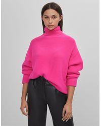 Jersey Cuello Vuelto Bershka de color Pink