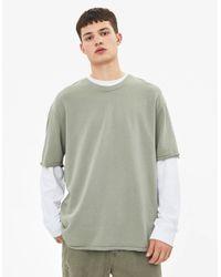 Camiseta efecto lavado Bershka de hombre de color Green
