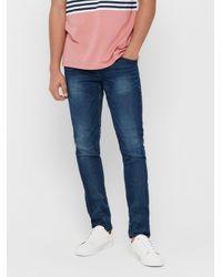 Only & Sons Onsloom Zip Blue Sweat Slim Fit Jeans für Herren