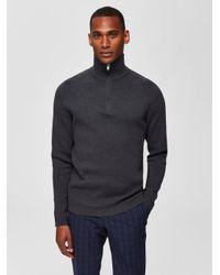 SELECTED Reißverschlusskragen Pullover in Gray für Herren