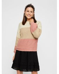 Pieces Pink Oversize Colourblocking Pullover