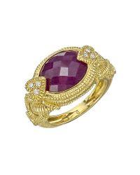 Judith Ripka - Metallic 18k Gold, Ruby & Diamond Dress Ring - Lyst