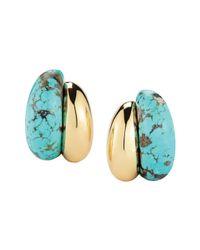 "Seaman Schepps Metallic 18k Gold & Turquoise ""silhouette"" Earrings"