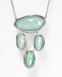 Alexis Bittar Green Amazonite Pave Crystal Dangling Pendant Necklace 29