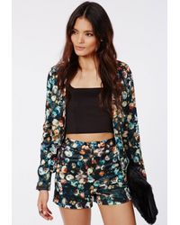 Missguided Multicolor Dark Floral Silky High Waist Shorts Navy