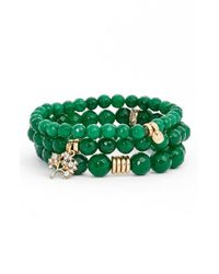 Sequin | Green 'color Karma' Bead Stretch Bracelet - Emerald | Lyst