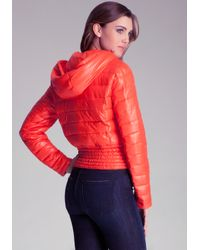 Bebe Orange Quilted Bomber Jacket