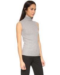 VINCE | Gray Skinny Rib Turtleneck Sweater | Lyst