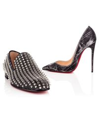 Christian Louboutin - Black Studded Patent Leather Pumps - Lyst
