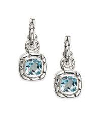 John Hardy | Metallic Blue Topaz & Sterling Silver Drop Earrings | Lyst