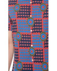Marc By Marc Jacobs Blue Patchwork Flower Shirt for men