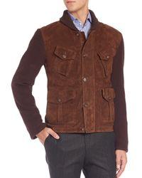 Eidos - Brown Mixed Media Varsity Jacket for Men - Lyst