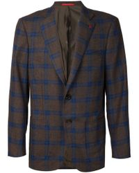 Isaia - Gray Checked Blazer for Men - Lyst