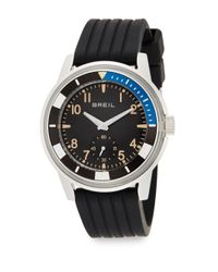 Breil | Metallic Stainless Steel & Grooved Silicone Watch | Lyst
