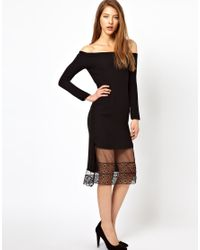 Sophia Kokosalaki Black Kore By Off Shoulder Dress With Lace Trim