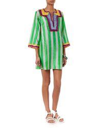 Easton Pearson Take Away Green Amea Kuta Striped Silk Kaftan