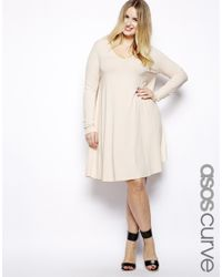 ASOS Natural Exclusive Swing Dress with Vneck and Long Sleeve