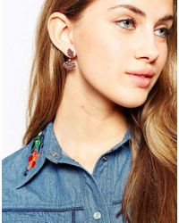 ASOS - Red Western Petal Swing Earrings - Lyst