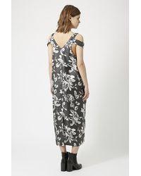 TOPSHOP - Blue Silk Geo Rose Print Dress By Boutique - Lyst