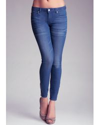 Bebe Brown Zipper Icon Skinny Jeans