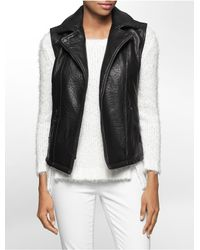 Calvin Klein | Black Jeans Textured Faux Leather Moto Vest | Lyst