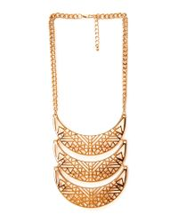 Forever 21 | Metallic Cutout Craze Scalloped Bib Necklace | Lyst