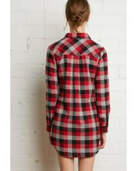 Forever 21 - Red Buffalo Plaid Shirt Dress - Lyst