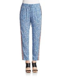 French Connection | Blue Bali Batik Drape Drawstring Trousers | Lyst