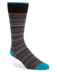 Bugatchi | Black Stripe Cotton Blend Socks for Men | Lyst