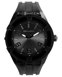 Sean John Men's Black Silicone Strap Watch 56x50mm 10021795 for men