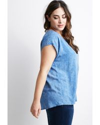 Forever 21 - Blue Plus Size Faded Chambray Top - Lyst