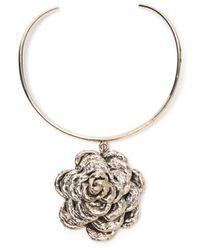 Anndra Neen - Metallic Single Rose Choker - Lyst
