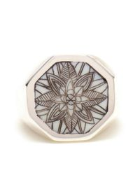 Duffy - Metallic Sterling Silver Engraved Signet Ring - Lyst