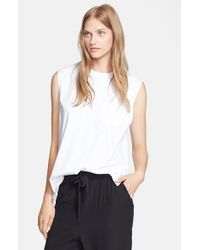 T By Alexander Wang | White Jersey Muscle Tank | Lyst