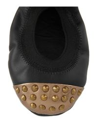 Yosi Samra Black Studded Leather Ballet Flats
