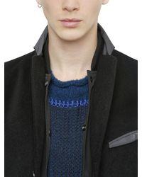 Miharayasuhiro Black Reversible Angora & Nylon Coat for men