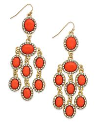 INC International Concepts | Pink Gold-tone Coral Bead And Crystal Chandelier Earrings | Lyst
