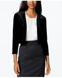 Calvin Klein Black Three-quarter Sleeve Velvet Shrug