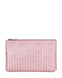 Bottega Veneta - Pink Small Grosgrain Effect Leather Clutch - Lyst
