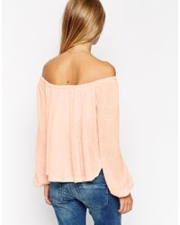 ASOS | Natural Festival Smock Top With Off Shoulder In Texture With Bell Sleeve | Lyst