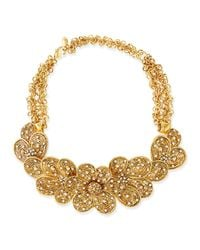 Jose & Maria Barrera | Metallic Gold-plated Flower Necklace With Crystals | Lyst