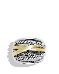 David Yurman Metallic Crossover Wide Ring With Gold