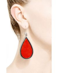 Eddie Borgo - Red Iinlaid Sliced Coral and Spiked Earrings - Lyst
